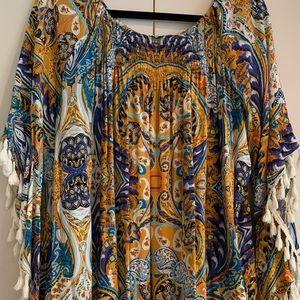Umgee Off Shoulder Tassel Sleeve Dress or Tunic